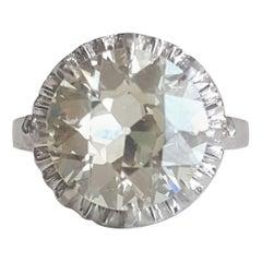 4.05 Carat White Old European Cut Round Diamond Vintage Ring in 18 Karat Gold