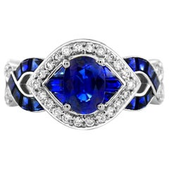 IGL Certified 1.10 Oval Sapphire Openwork 14K Criss Cross diamond band ring