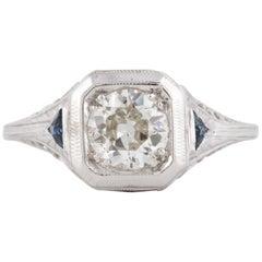 18 Karat 1930s Diamond Sapphire Ring