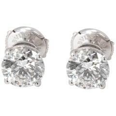 Bulgari Diamond Stud Earrings in 18 Karat Gold GIA Certified H/VVS1 3.02 Carat