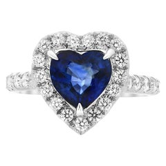 2.14 Carat G.I.A Certified Heart-Shaped Sapphire and Diamond Halo Ring 18 Karat