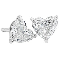 GIA Certified Heart Shape Diamond Stud Earrings