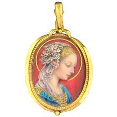 Annunciation Virgin Enamel Portrait Pendant 18 Karat