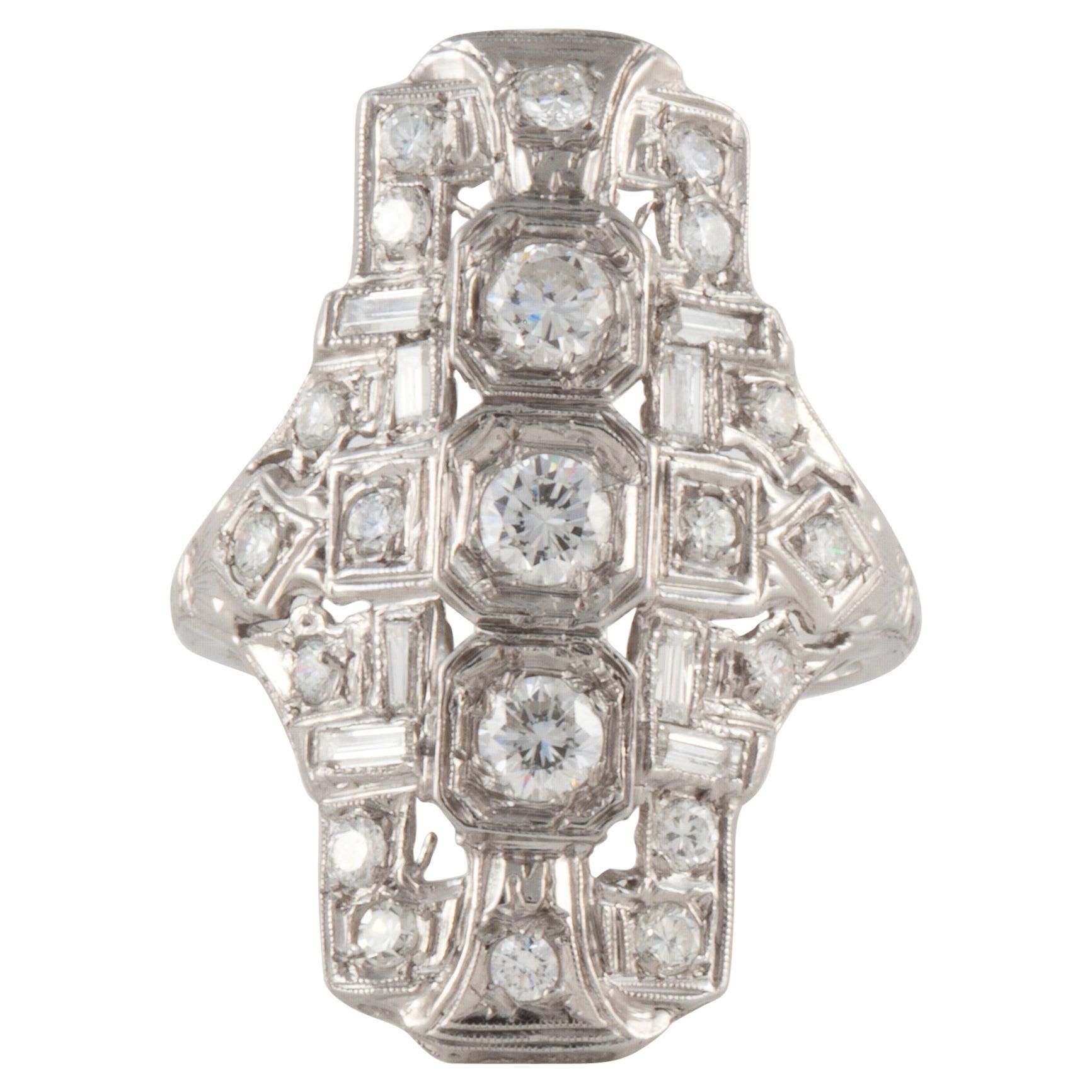 Platinum Art Deco Diamond Navette Ring
