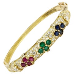 Vintage Diamond, Ruby, Emerald and Sapphire 18 Karat Bangle Bracelet