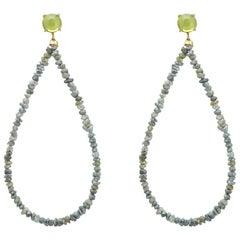 Maviada's Rough Cut Grey Diamond 18 Karat Gold Green Peridot Hoop Earrings