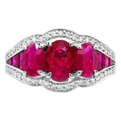 IGL Certified 1.10 Carat Oval Three-stone Ruby Baguette Diamond 14K Ring