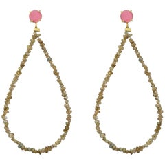 Maviada's Rough Cut Beige Diamond 18 Karat Gold Pink Tourmaline Hoop Earrings
