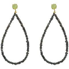 Maviada's Rough Cut Black Diamond 18 Karat Gold Green Peridot Hoop Earrings