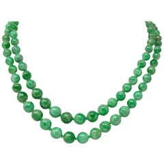 Art Nouveau Jadeite Jade Bead 18 Karat White Gold Double Strand Necklace GIA