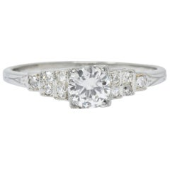 1930s 0.64 Carat Diamond 18 Karat White Gold Engagement Ring