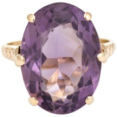 Vintage Amethyst Ring 9 Karat Gold Large Cocktail English Estate Fine Jewelry