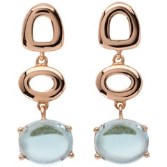 Maviada's St Tropez Sky Blue Topaz 18 Karat Rose Gold Drop Long Earrings