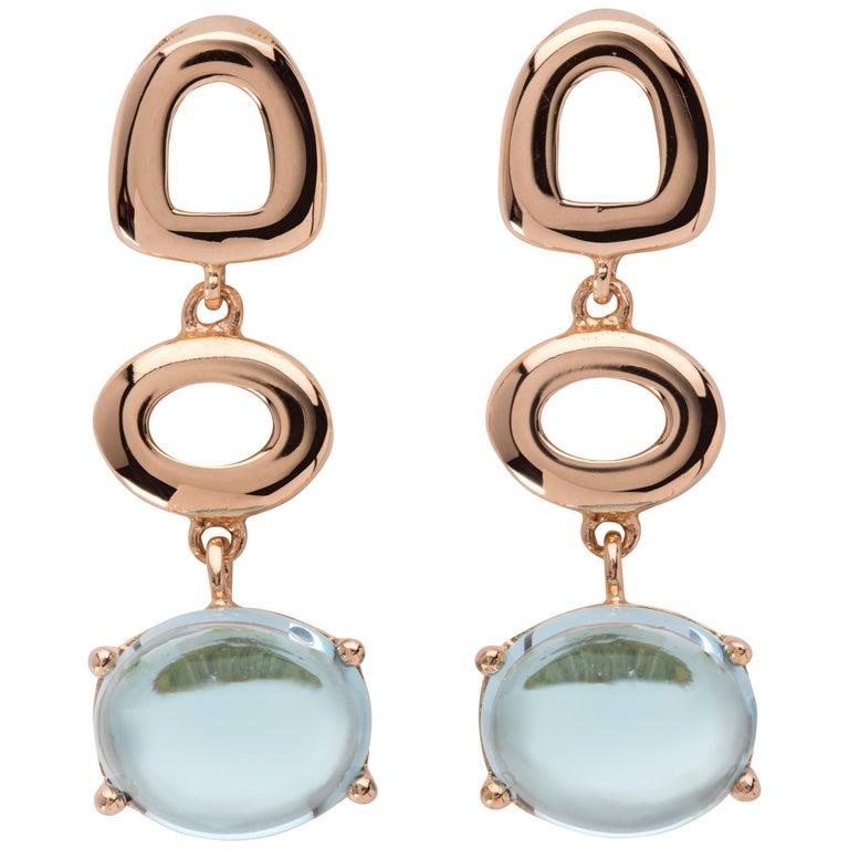 Maviada's St Tropez Sky Blue Topaz 18 Karat Rose Gold Drop Long Earrings For Sale