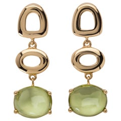 Maviada's St Tropez Green Peridot 18 Karat Yellow Gold Drop Long Earrings