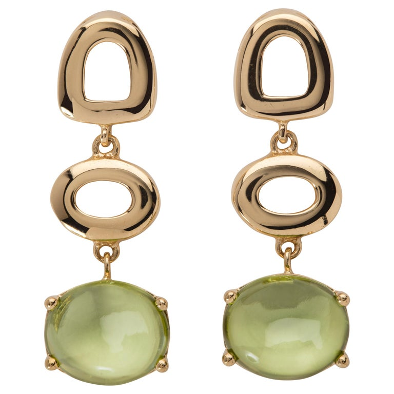 Maviada's St Tropez Green Peridot 18 Karat Yellow Gold Drop Long Earrings For Sale