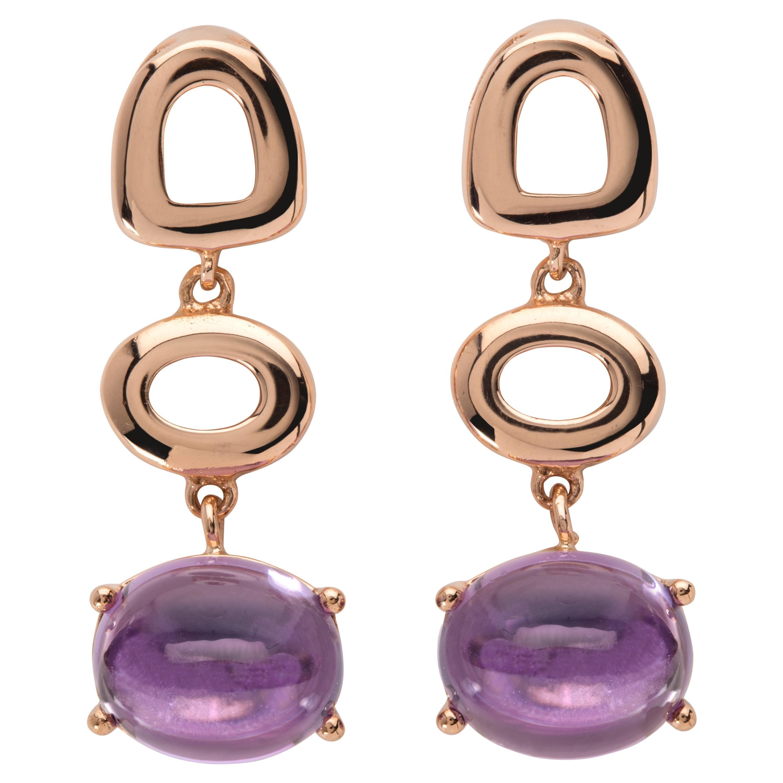 Maviada's St Tropez Purple Amethyst 18 Karat Yellow Gold Drop Long Earrings