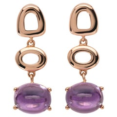 Maviada's St Tropez Purple Amethyst 18 Karat Yellow Gold Drop Long Earrings