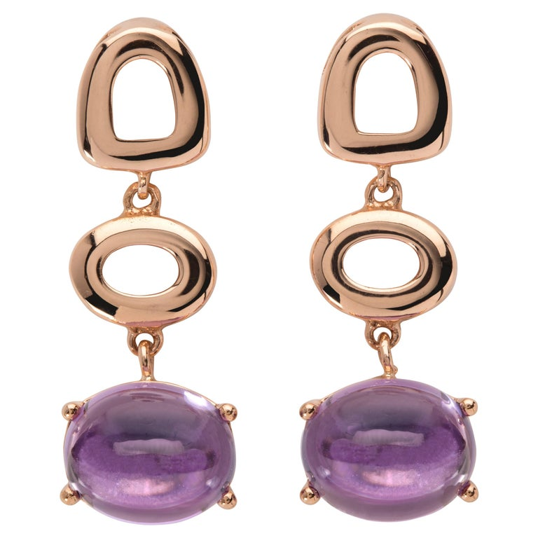 Maviada's St Tropez Purple Amethyst 18 Karat Yellow Gold Drop Long Earrings For Sale
