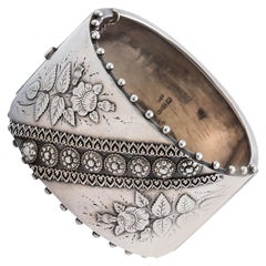 Antique Victorian Sterling Silver Bangle Cuff Bracelet