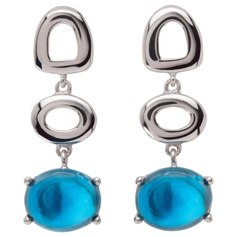 Maviada's St Tropez London Blue Topaz 18 Karat White Gold Drop Long Earrings