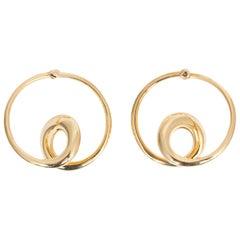 Michael Good 18 Karat Yellow Gold Swirl Heart Clip-On Earrings Non-Pierced