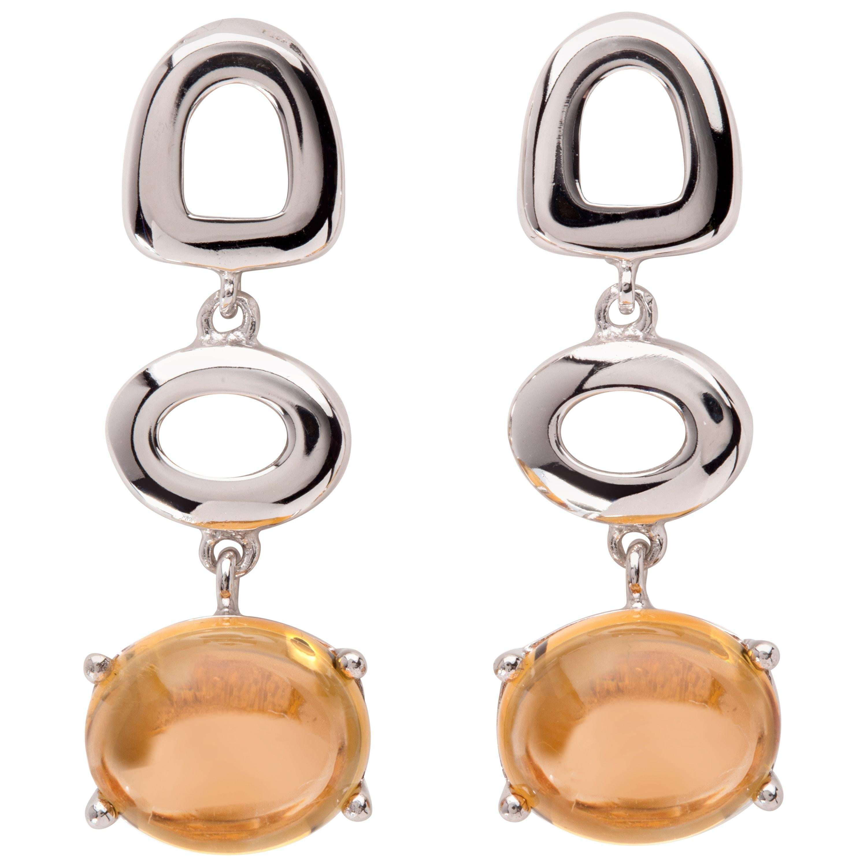 Maviada's St. Tropez Burnt Orange Citrine 18 Karat White Gold Drop Long Earrings