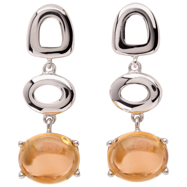 Maviada's St. Tropez Burnt Orange Citrine 18 Karat White Gold Drop Long Earrings For Sale