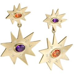 Emily Kuvin Double Star Gold Statement Earrings, Amethyst and Topaz