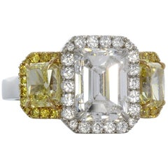 Stunning Platinum and Gold Diamond Fancy Yellow Ring