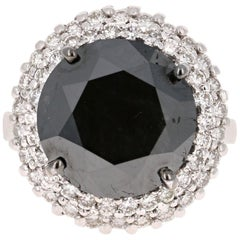 11.06 Carat Black and White Diamond 18 Karat White Gold Cocktail Ring