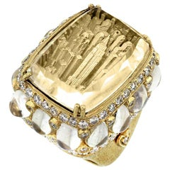 Stambolian Carved New York Skyline Yellow Gold Rainbow Moonstone Diamond Ring