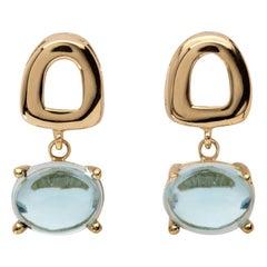 Maviada's St Tropez Mini Blue Topaz 18 Karat Yellow Gold Drop Dangle Earrings