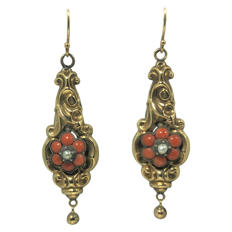 Antique Victorian Yellow Gold Coral and Seed Pearl Earrings