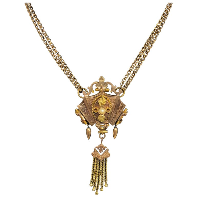 Antique Victorian 2-Tone Gold Seed Pearl Enamel and Tassel Double Chain Necklace