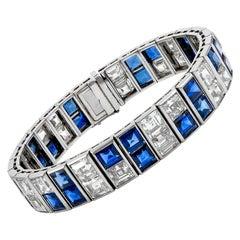 Platinum Sapphire Diamond Double Line Bracelet