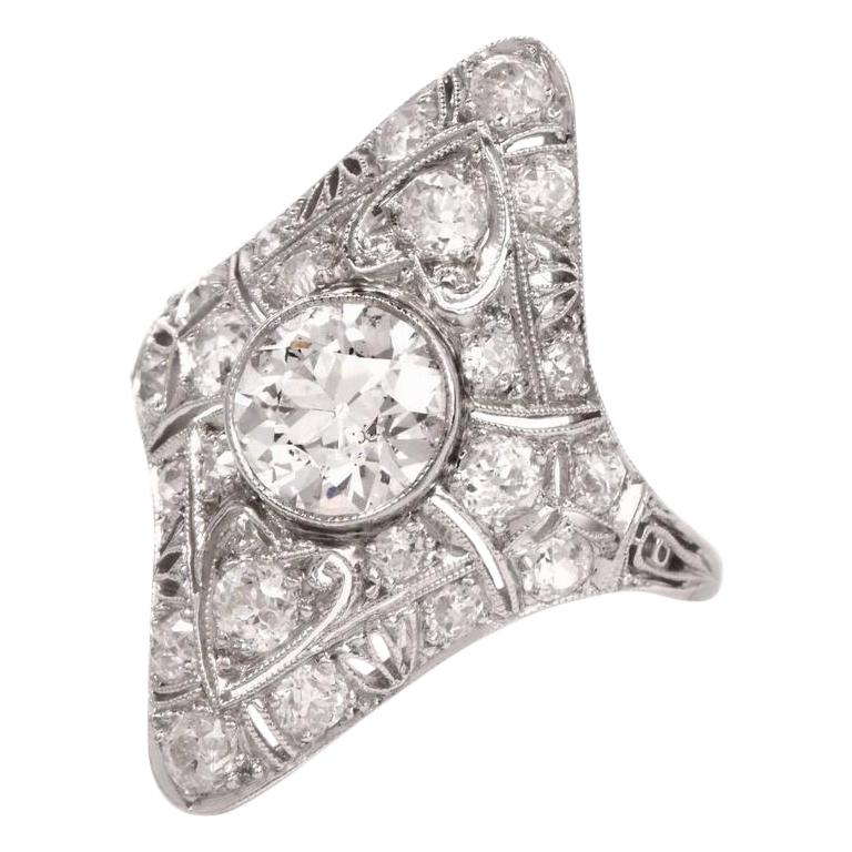 Antique Art Deco Diamond Filigree Platinum Ring For Sale