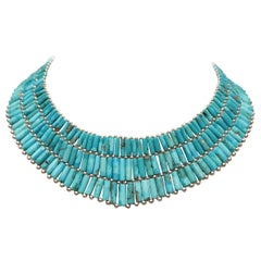 Turquoise and Sterling Collar Necklace