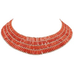 Italian Coral and Sterling Silver Adjustable Beaded Choker