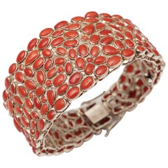 Bracelet Mosaic of Italian Coral Set in Sterling Silver