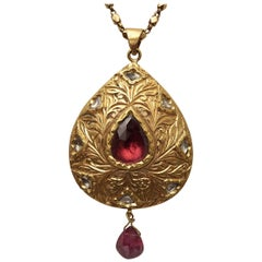 22 Karat Gold Diamond and Pink Tourmaline Long Pendant Necklace, Reversible