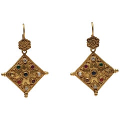 18 Karat Gold Nava Ratna Drop Earrings with Precious Stones, India