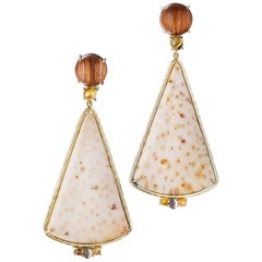Daria de Koning Rutilated Quartz, Citrine, Fossilized Palm Wood Earrings
