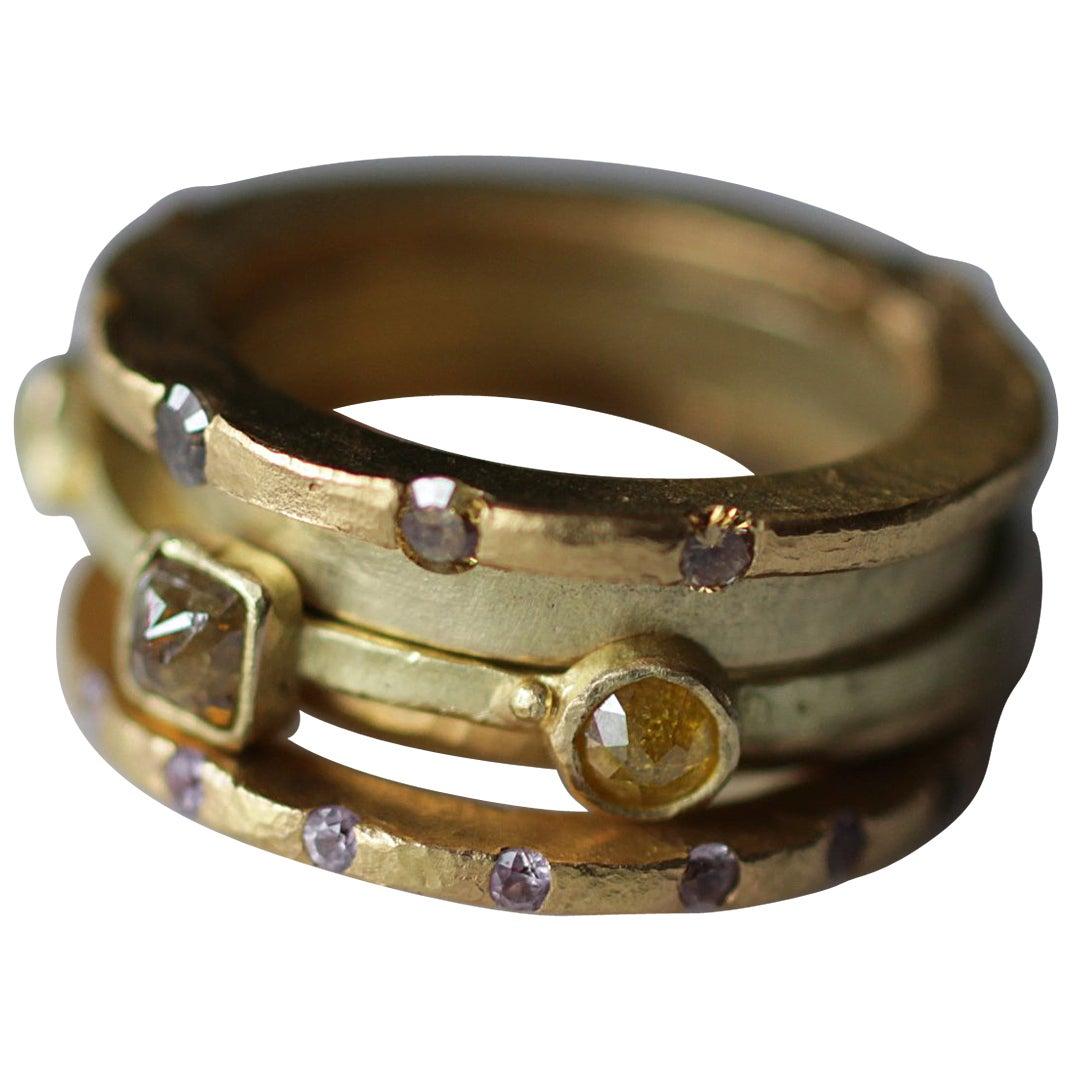 Sapphire Diamond Bridal Wedding Ring Stack #6 in 18 Karat, 22 Karat Gold Bands