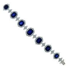 Certified 54.36 Carat Sapphire and 24.70 Carat Diamond Platinum Bracelet