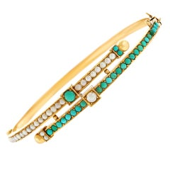 Antique Turquoise and Pearl Set Gold Bangle