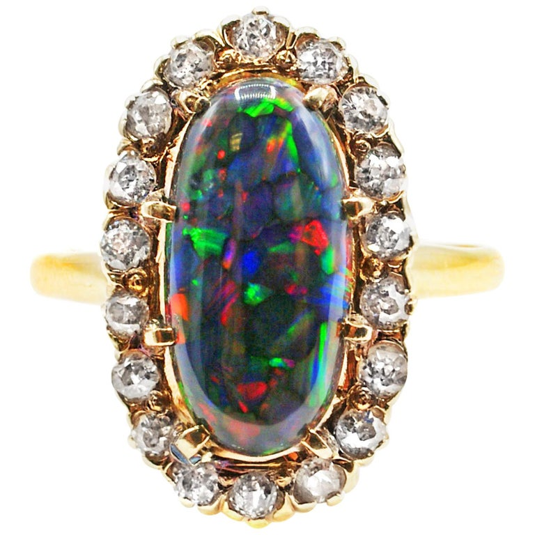 Harlequin Black Opal Victorian Diamond Gold Ring, circa 1880 For Sale