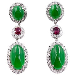 Certified 15.75 Carats Imperial Jade and Unheated Ruby Earrings 18K White Gold