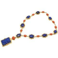 David Webb Carved Lapis and Coral 18 Karat Gold Necklace