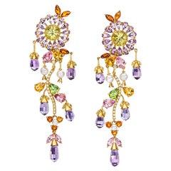 18 Karat Yellow Gold Floral Semi Precious, Diamond and Pearl Hanging Earrings